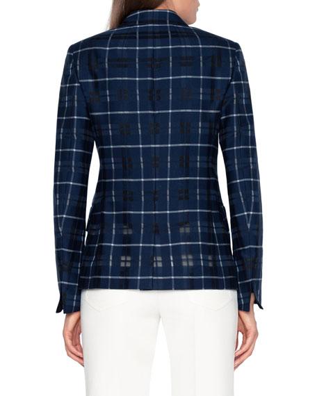 Akris Plaid Double-Breasted Blazer Jacket