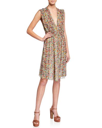 Floral Silk Sleeveless Deep V-neck Dress