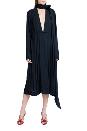 Victoria Beckham Scarf-Neck Georgette Dress