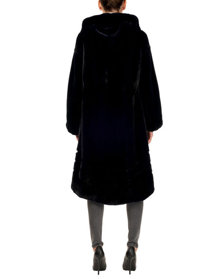 Gorski Short-Nap Mink Coat w/ Hood and Sheared Sleeves