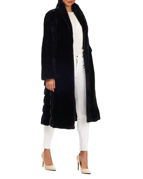 Gorski Wing-Collar Long Mink Fur Coat w/ Sheared Mink Inserts