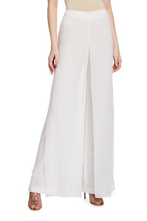 Akris Carmen Silk Georgette-Panel Pants