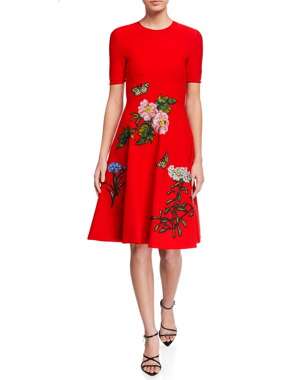 Oscar de la Renta Floral-Embroidered A-Line Dress