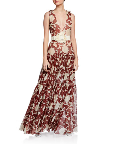 Floral Print Tiered Silk Gown
