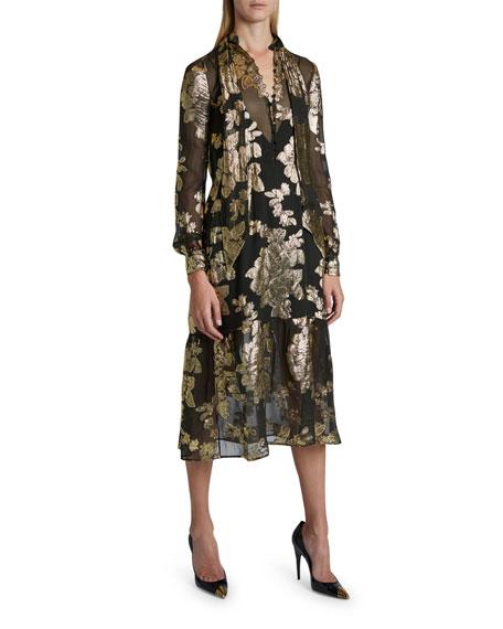 Saint Laurent Sheer Floral Fil Coupe Dress
