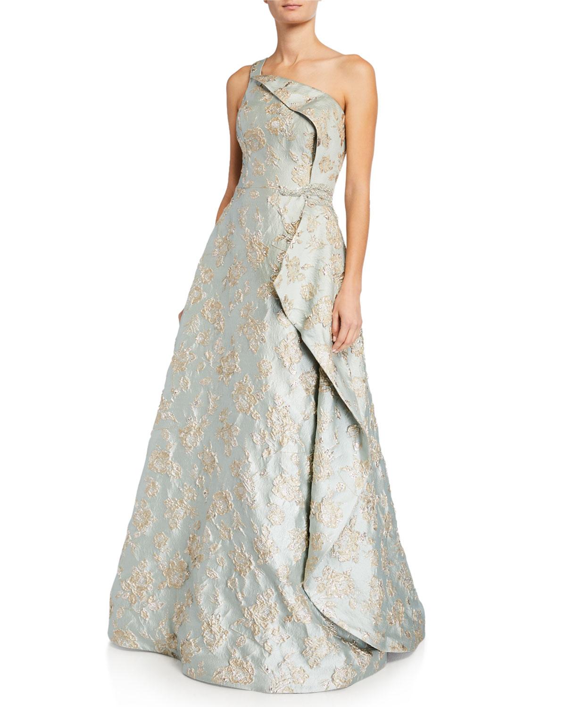 Rickie Freeman For Teri Jon Premier One-Shoulder Metallic Jacquard Asymmetrical Wrapped Gown