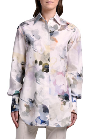 Agnona Watercolor Floral Print Shirt