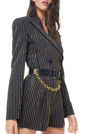 Michael Kors Collection Crystal Pinstripe Jacket Romper