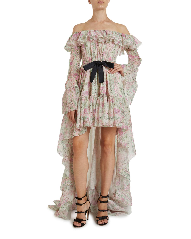 Giambattista Valli Floral Print Off-the-Shoulder Gown