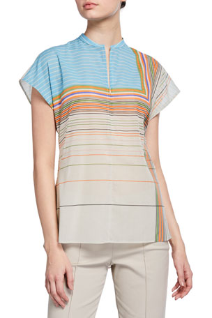 Akris Striped Silk Cap-Sleeve Shirt
