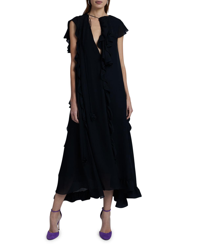 Victoria Beckham Cap-Sleeve Long Ruffle Dress