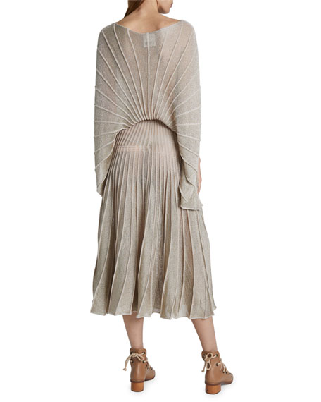 Stella McCartney Metallic Pleated Boat-Neck Dress