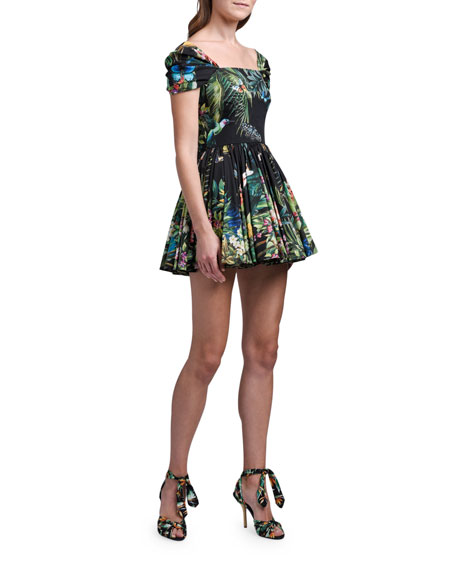 Dolce & Gabbana Cap-Sleeve Jungle-Print Mini Dress