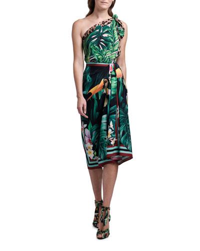 One-Shoulder Jungle Print Stretch Silk Dress