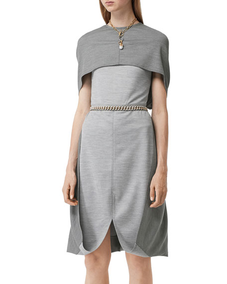 Burberry Jersey Cape Dress
