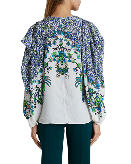 Image 2 of 3: Givenchy Jacaranda Crepe Puff-Sleeve Blouse