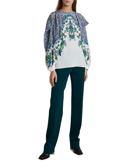 Image 3 of 3: Givenchy Jacaranda Crepe Puff-Sleeve Blouse