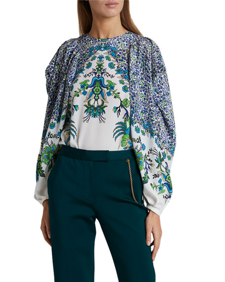 Image 1 of 3: Givenchy Jacaranda Crepe Puff-Sleeve Blouse