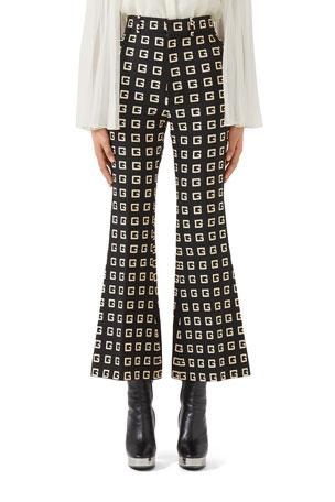 Gucci Square-G Jacquard Faille Flare Pants