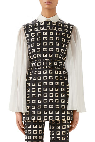 Gucci Sleeveless G Lettering On Faille Belted Tunic