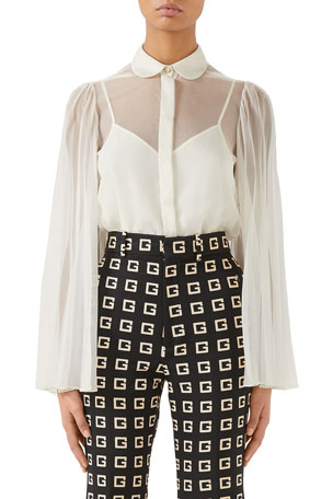 Gucci Flare Pleated Sleeve Silk Polyester Organdy Blouse