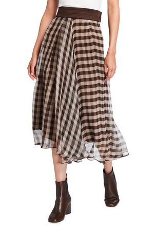 Brunello Cucinelli Asymmetric Gingham Silk Midi Skirt