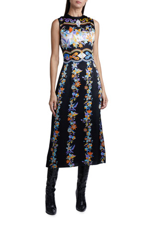 Andrew Gn Floral Jacquard Sleeveless Midi Dress