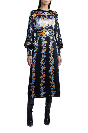 Andrew Gn Floral Jacquard Balloon-Sleeve Midi Dress
