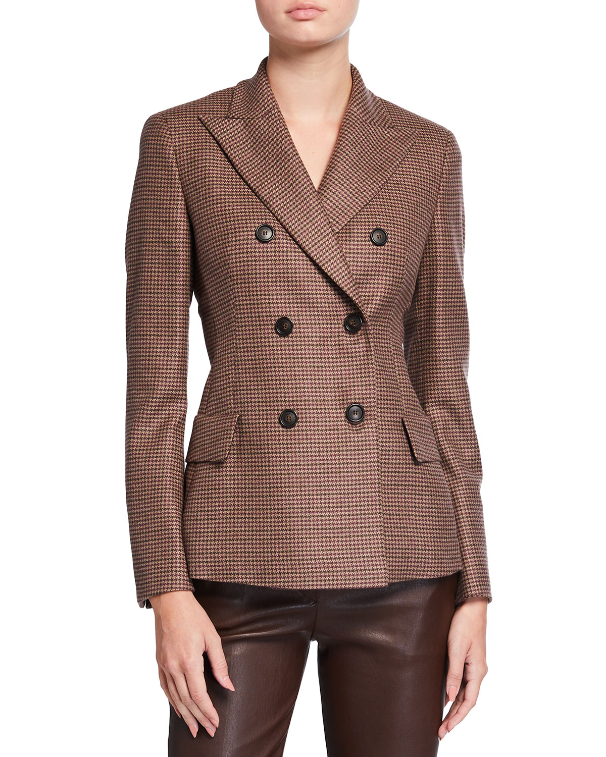 Akris Houndstooth Double-Breasted Cashmere Jacket