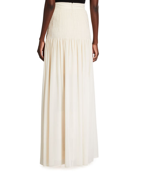 Image 3 of 4: Akris Pleated Long Silk Georgette Skirt