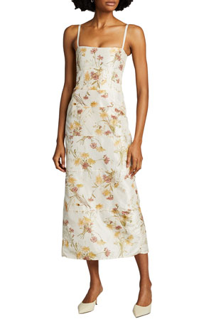 Brock Collection Floral Spaghetti Strap Dress