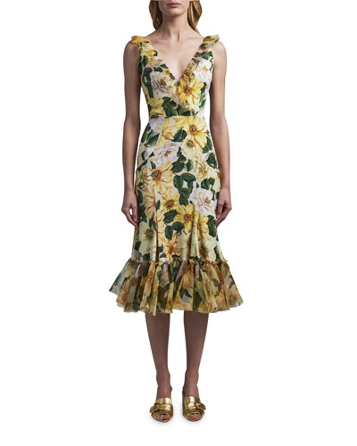Dolce & Gabbana Silk Deep-V Midi Dress
