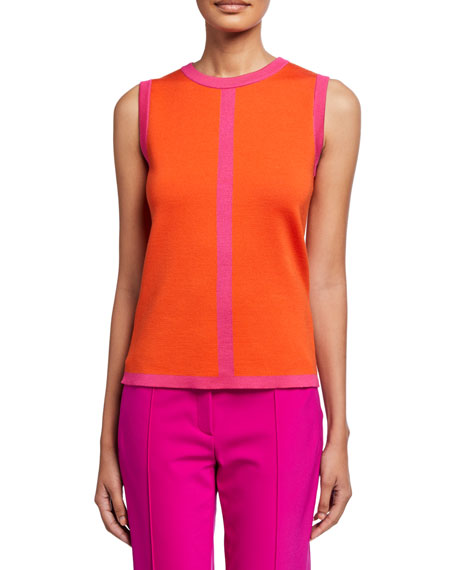 Image 1 of 2: Escada Contrast-Striped Double-Face Wool Shell