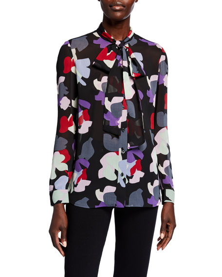 Image 1 of 2: Emporio Armani Abstract Floral Pleated Crepe Tie-Neck Button-Down Blouse