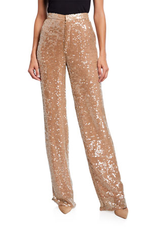 Sally LaPointe Sequined Jersey High-Rise Trousers