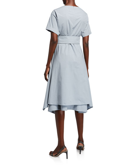 Image 2 of 2: Brunello Cucinelli Crinkled Cotton Short-Sleeve Dress