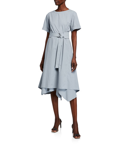 Image 1 of 2: Brunello Cucinelli Crinkled Cotton Short-Sleeve Dress