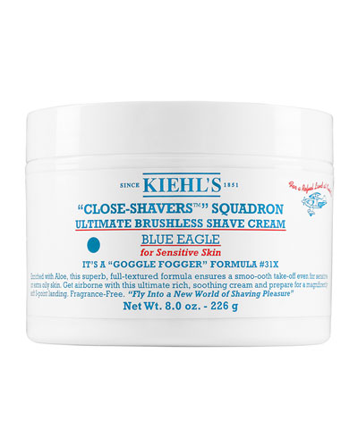 """Close-Shavers"" Squadron Ultimate Brushless Shave Cream for Sensitive Skin, Blue Eagle, 8.0 oz."