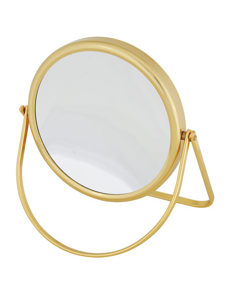 Brass Stand Folding Double Sided Travel Mirror, 6.25""