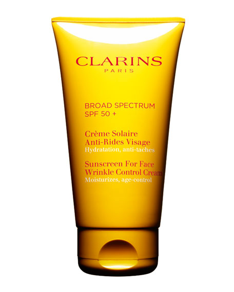 Clarins Sunscreen for Face, Wrinkle Control Cream SPF 50, 2.5 oz./ 74 mL