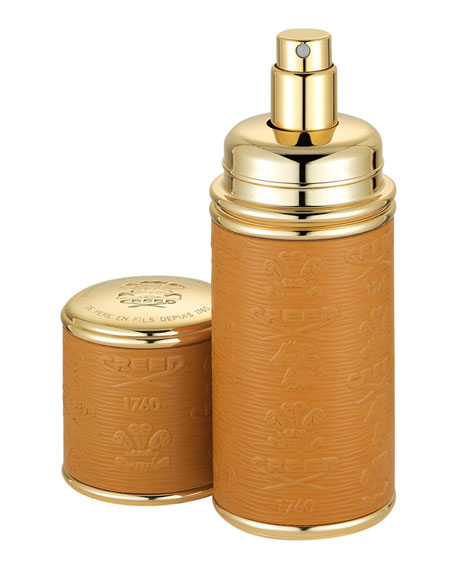 Image 1 of 1: Logo Etched Leather Atomizer, Gold/Camel