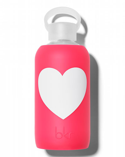 Glass Water Bottle, Bisous Heart, 500 mL
