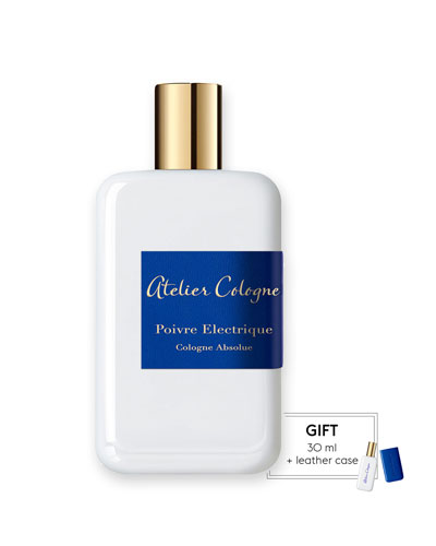 Atelier Cologne Poivre Electrique Cologne Absolue, 200 mL with Personalized Travel Spray, 1.0 oz./ 30 mL
