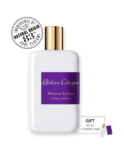 Atelier Cologne Mimosa Indigo Cologne Absolue, 200 mL with Personalized Travel Spray, 1.0 oz./ 30 mL