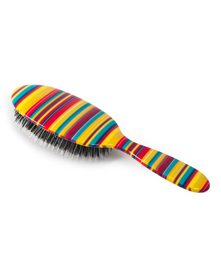 Large Thin Multicolored-Stripes Mixed Bristle Hairbrush