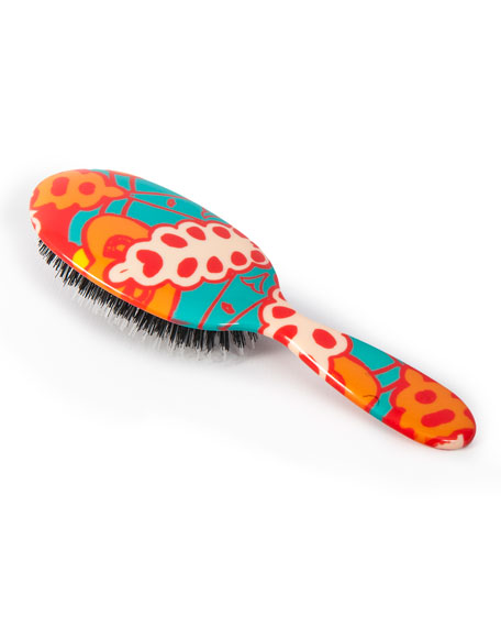 Large Paisley Orange & Teal Mixed-Bristle Hairbrush