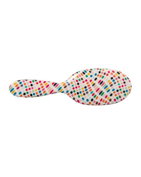 Large White with Multicolor Dots Mixed Bristle Hairbrush