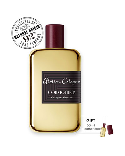 Gold Leather Cologne Absolue  200 mL with Personalized Travel Spray  1.0 oz./ 30 mL