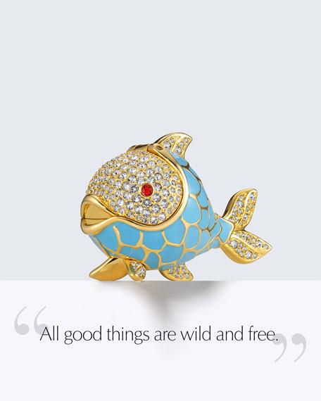 Limited Edition Beautiful Whimsical Fish Perfume Compact by Monica Rich Kosann