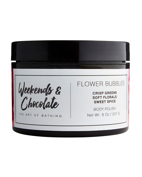 Weekends and Chocolate Body Scrub - Flower Bubbles, 8.0 oz./ 227 mL